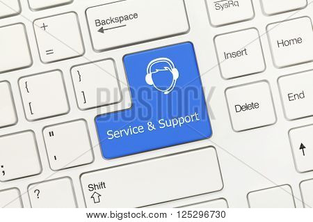 White Conceptual Keyboard - Service And Support (blue Key With Call-center Operator)