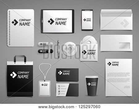 Business stationery mock up set. Corporate identity template in black and white style.