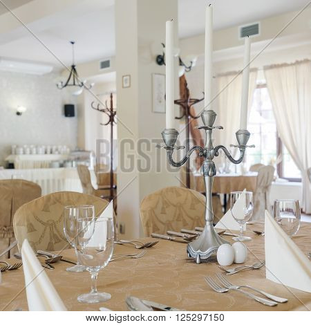 Luxurious classy hotel dining room interior in light colours