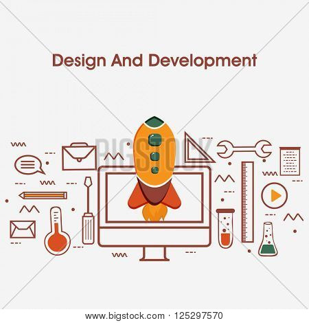 One page web design template with thin line icons of Design and Development Services. UI and UX for web, app coding and more. Flat design graphic Hero Image concept, Website Elements layout.