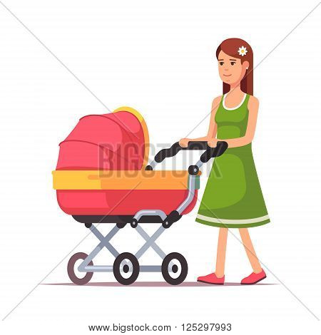 Young woman walking with her newborn child in an old fashioned bright pink pram. Baby carriage modern flat style vector illustration isolated on white background.
