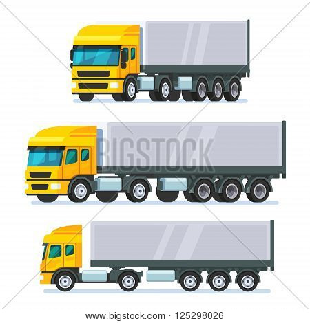 Modern European standard flat nose articulated lorry truck. Modern flat style vector illustration isolated on white background.