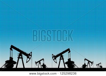 Silhouette of three oil pumps at blue background. Oil field at sunset.