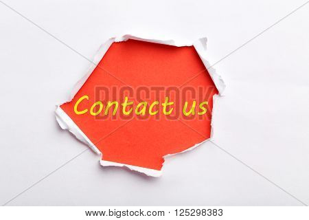 Torn White Paper, For Text, Close Up, Contact Us