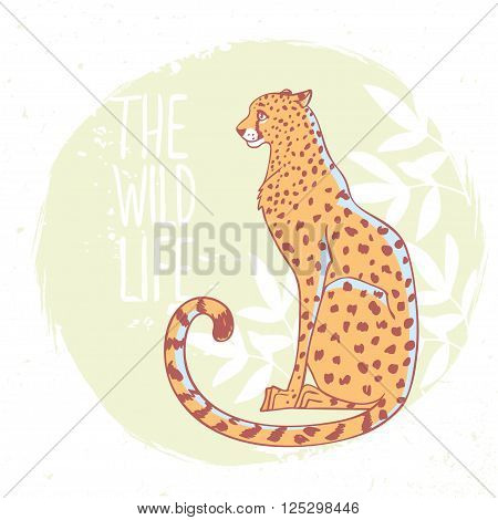 Amazing animal cheetah with sample text - the wild life. Vector illustration