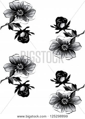 seamless floral vintage grunge background. Branch with roses pattern. Grayscale Colorful Vector illustration.