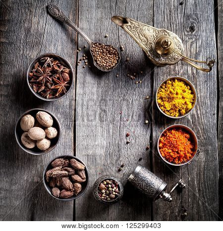 Spices At Wooden Table