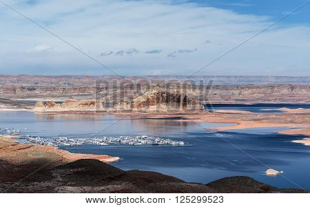 Lake Powell at Marina Bay sunny day. Spring in Arizona USA