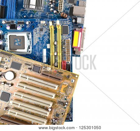 Computer motherboards, isolated on white