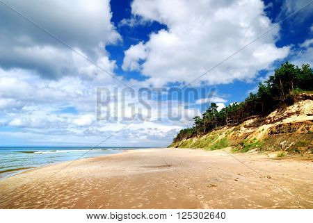 Baltic sea shore in Ventspils, Latvia. Beach landscape.