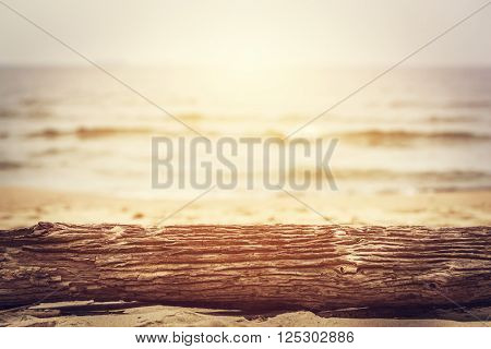 Tree trunk lying on the beach. Ocean background, sun shining. Perfect for text or object placement