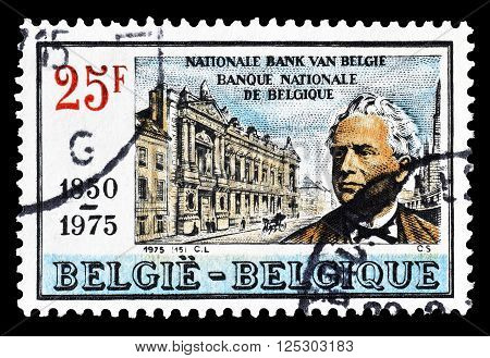 BELGIUM - CIRCA 1975 : Cancelled postage stamp printed by Belgium, that shows National bank and founder Orban.