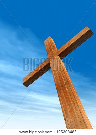3D illustration concept or conceptual wood cross or religion symbol shape over a blue sky with clouds background