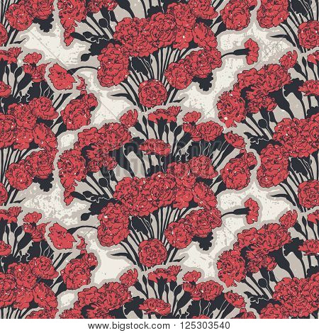 Seamless pattern with bouquets of pinks, vector illustration, color version