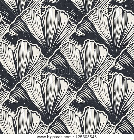 Seamless pattern with gonkgo leaves, vector illustration