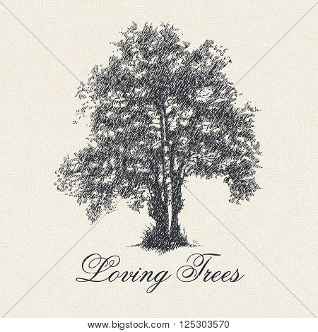 Loving Trees poster with hand drawn tree silhouette, vector illustration