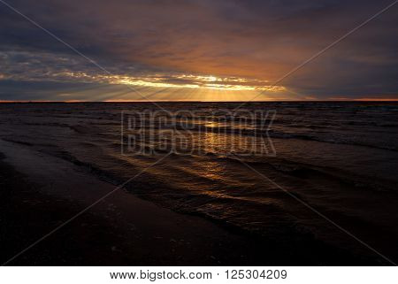 Late sunset landscape at the Baltic sea.