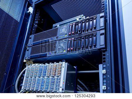 modern blade server server equipment rack data center closeup