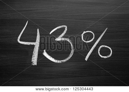 43 percent header written with a chalk on the blackboard