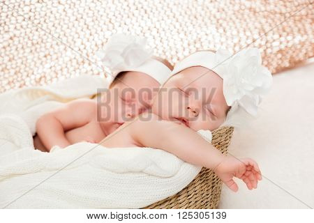 Newborn twins sisters sleeping in basket and hugging each other, wearing white headband