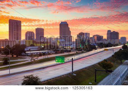 Orlando, Florida, USA skyline at dawn.
