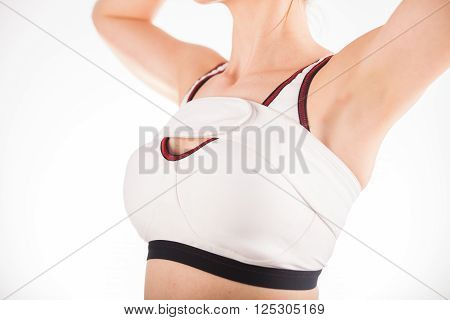 Woman Wearing Medical Compression Band After Cosmetic Breast Surgery