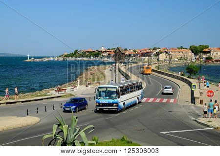 NESSEBAR BULGARIA - JULY 16 2015: View on old town of Nessebar Bulgaria. Ancient city of Nessebar is a UNESCO world heritage site.