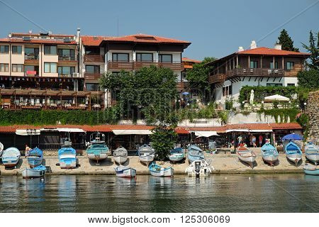 NESSEBAR BULGARIA - JULY 21: View on street Angelo Roncalli on July 21 2015 in old town of Nessebar Bulgaria. Ancient city of Nessebar is a UNESCO world heritage site.