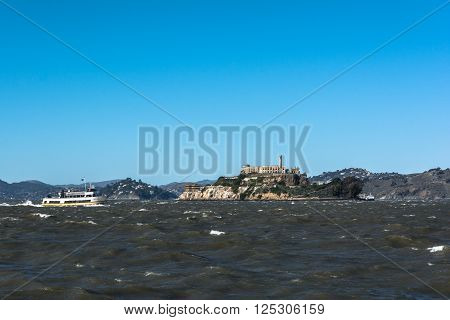 San Francisco Bay,California,USA - December 30, 2014 : Alcatraz Island and the rough seas