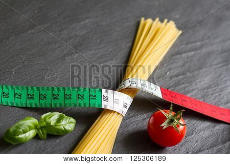 Italian food concept with centimeter flag colors