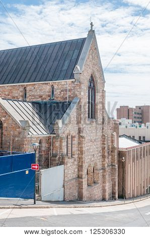PORT ELIZABETH SOUTH AFRICA - FEBRUARY 27 2016: The historic St Augustines Catholic Cathedral completed in 1866 with the Mac Sherry Hall to its right
