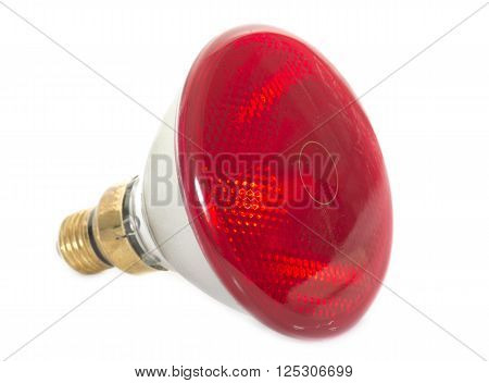 infrared bulb in front of white background