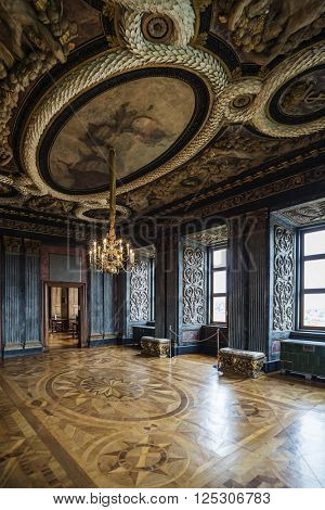 GOTHA, GERMANY - APRIL 15, 2015: famous audience hall, now used as a museum, of late baroque style Friedenstein Castle in Gotha, Germany