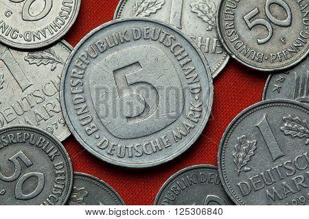 Coins of Germany. German five Deutsche Mark coin (1979).