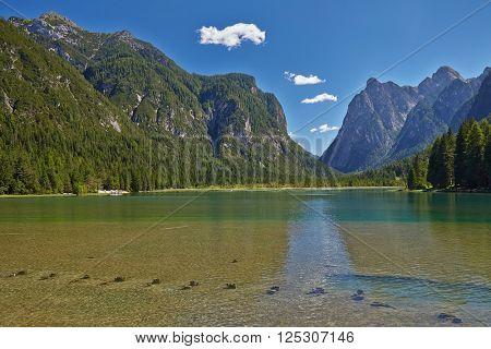 Mountain lake in the Dolomites