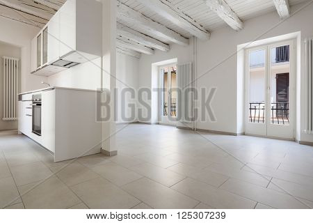 Interior, new domestic kitchen in old loft