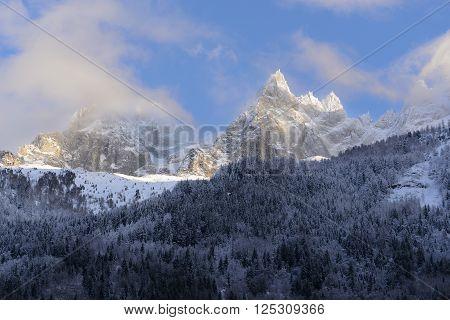 The Aiguilles du Midi mountain range in Chamonix