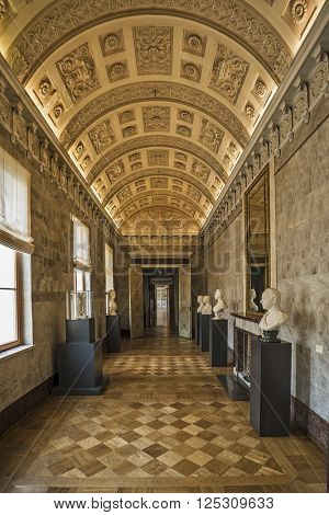 WEIMAR, GERMANY - APRIL 17, 2014: Marble Gallery in the Stadtschloss (city castle) of Weimar, Thuringia, Germany