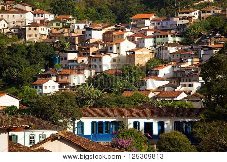 view of the historical town Ouro Preto Minas Gerais Brazil