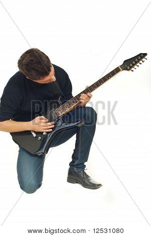 Man Concentration With Guitar