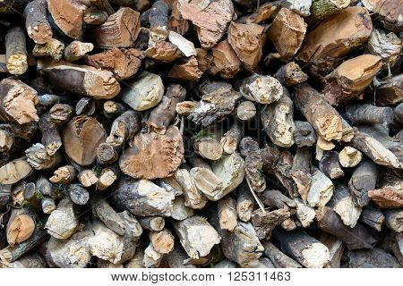 Closeup of a stere of logs
