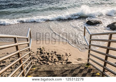 Staircase down to beach in La Jolla, California.