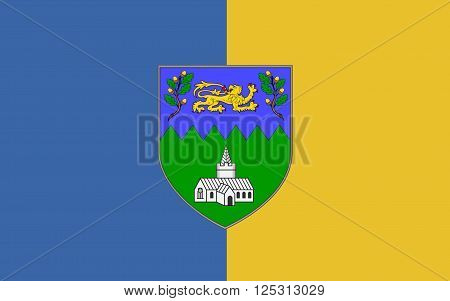 Flag of County Wicklow is a county in Ireland. The last of the traditional 32 counties to be formed as late as 1606 it is part of the Mid-East Region and is also located in the province of Leinster