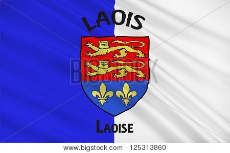 Flag of County Laois is a county in Ireland. It is part of the Midlands Region and is also located in the province of Leinster and was formerly known as Queen's County