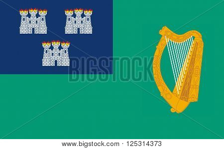 Flag of Dublin is the capital and largest city of Ireland. Dublin is in the province of Leinster on Ireland's east coast at the mouth of the River Liffey.