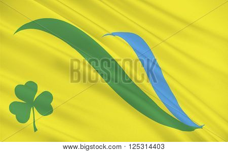 Flag of Dun Laoghaire-Rathdown is a county in Ireland. It is part of the Dublin Region in the province of Leinster.