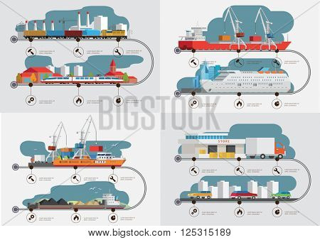 Flat  isometric transport cargo shipping  concept infographics vector illustration.