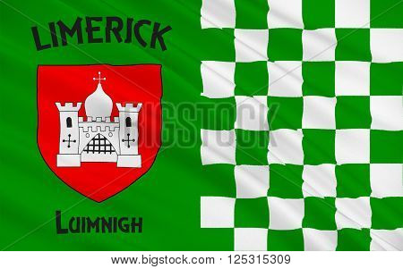 Flag of County Limerick is a county in Ireland. It is located in the province of Munster and is also part of the Mid-West Region. Limerick City and County Council is the local council for the county.