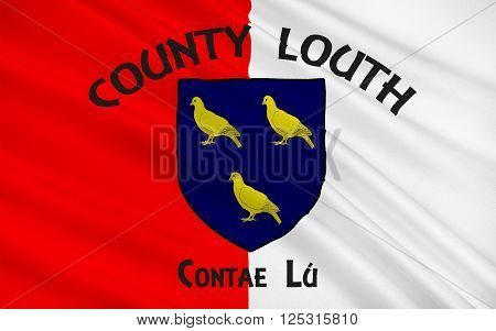 Flag of County Louth in Ireland. It is in the province of Leinster and is part of the Border Region.