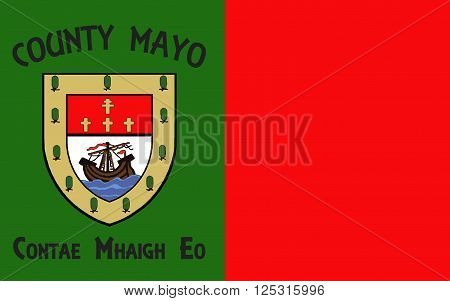 Flag of County Mayo is a county in Ireland. In the West of Ireland it is part of the province of Connacht and is named after the village of Mayo now generally known as Mayo Abbey.